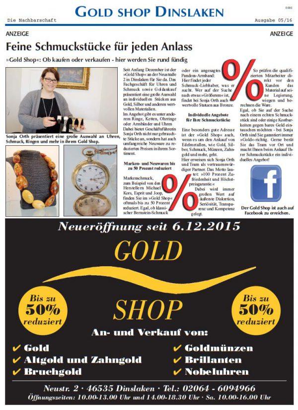Ein Zeitungsbericht über den Gold Shop aus Dinslaken
