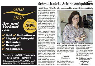 Berichterstattung über den Gold Shop aus Dinslaken